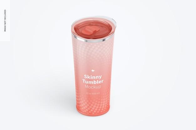 22 oz skinny tumbler mockup, isometrische linkeraanzicht
