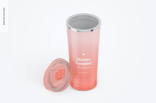 22 oz skinny tumbler mockup, isometrische weergave