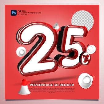25 percentage 3d render rode kleur met elementen