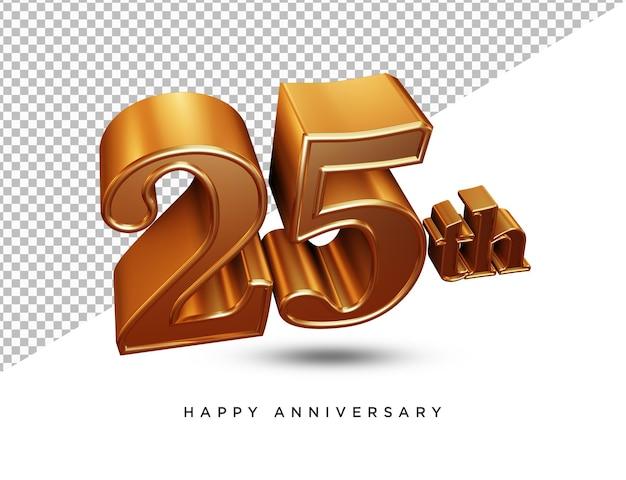 25ste verjaardag 3d-rendering geïsoleerd