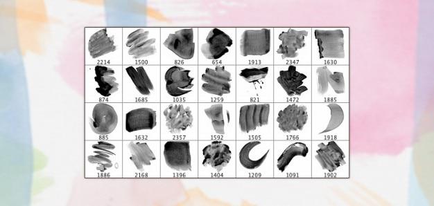 28 pinceles de alta resolución de acuarela
