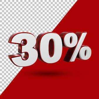 30% aanbieding label 3d-rendering geïsoleerd