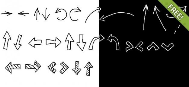 30 libre en blanco y negro dibujado a mano flechas