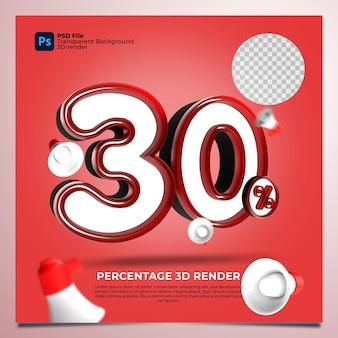 30 percentage 3d render rode kleur met elementen