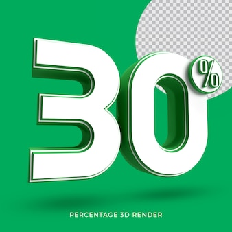 30 procent 3d render groene kleur