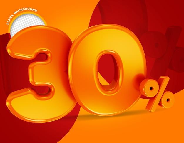 30 procent aanbieding label 3d-rendering geïsoleerd