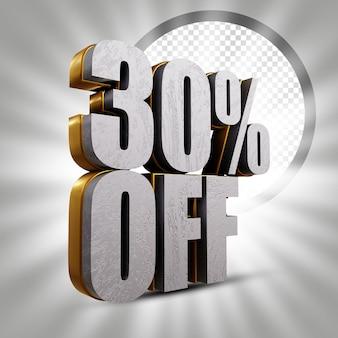 30 procent korting op metallic gouden 3d-illustratie voor tekstweergave