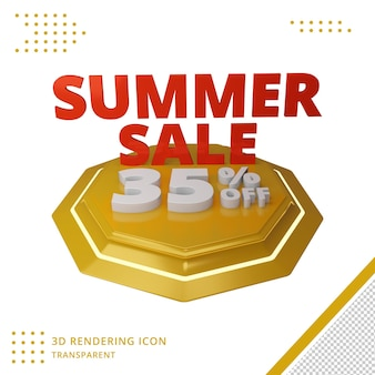 35 procent 3d-zomerkortingsaanbieding in 3d-rendering