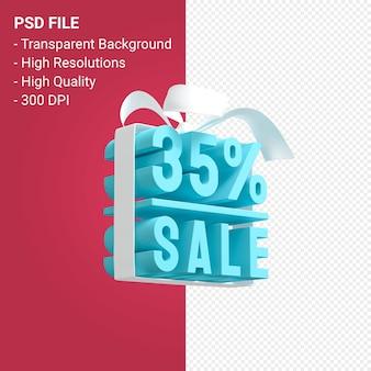 35 procent verkoop met boog en lint 3d-ontwerp geïsoleerd