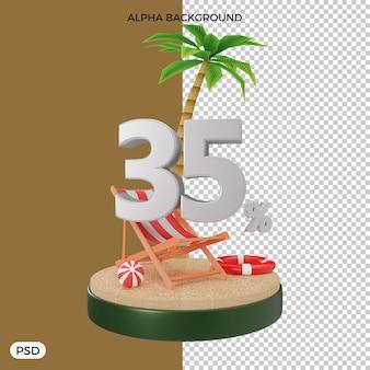 35 procent zomerkorting aanbieding 3d render