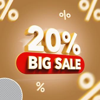 3d 20 procent biedt grote verkoop