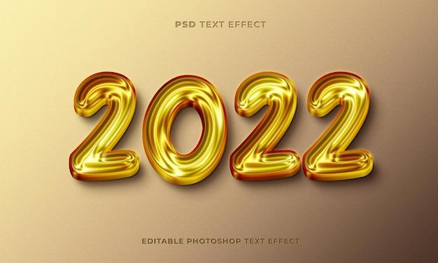 3d 2022 teksteffectsjabloon met gouden kleur