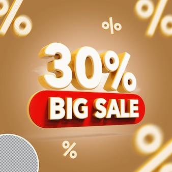 3d 30 procent biedt grote verkoop