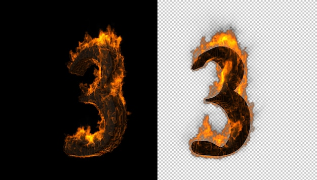 3d aantal dat brand en vlammeneffect vat