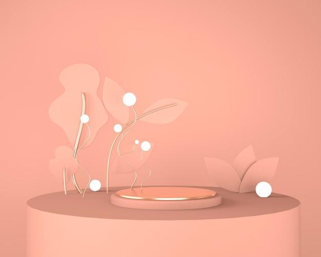 3d abstract podium met geometrische vormen