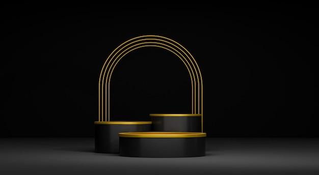 3d abstract render podium met gouden ring