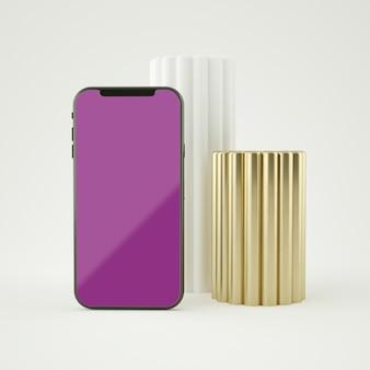 3d-abstract smartphone-mockup op volledig scherm 3d-weergave