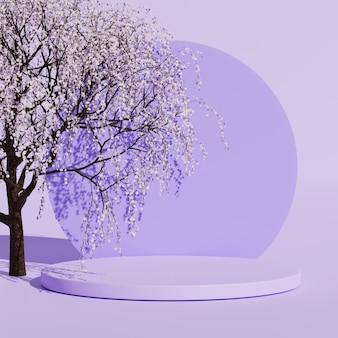 3d-abstracte japanse paarse scène met productweergave van kersenbloesemboom voor mockup-presentatie