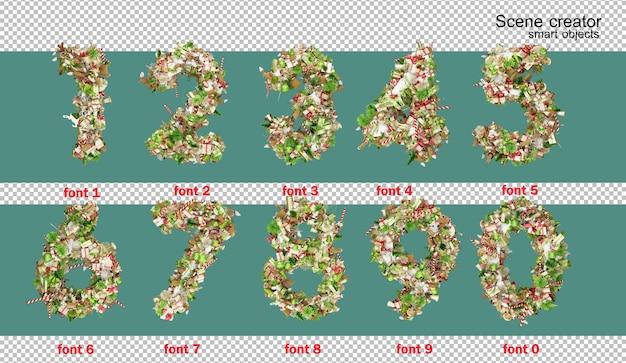 3d-afbeelding engelse alfabet kerstdag