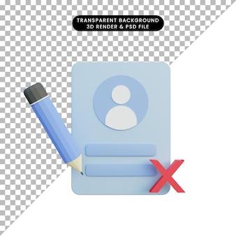 3d-afbeelding inlogpagina mislukt met potlood