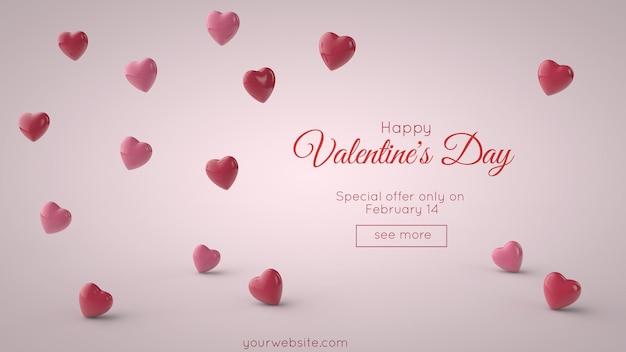 3d-afbeelding. valentijnsdag kaart mockup. rood hart en plaats voor uw tekst