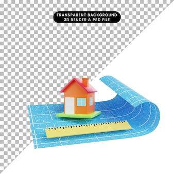 3d-afbeelding van een eenvoudig objecthuisliniaal met blauwdrukpapier