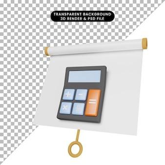 3d-afbeelding van een eenvoudig objectpresentatiebord enigszins gekanteld met rekenmachine