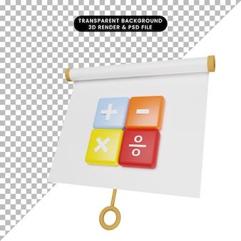 3d-afbeelding van een eenvoudig objectpresentatiebord enigszins gekanteld met rekenmachinepictogram
