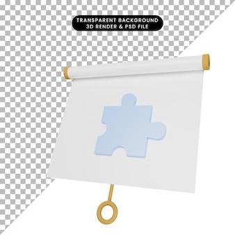 3d-afbeelding van een eenvoudig objectpresentatiebord, licht gekanteld aanzicht met puzzelstukjes