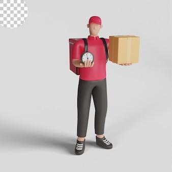 3d-afbeelding van express koeriersbezorging professionele postdienst psd premium
