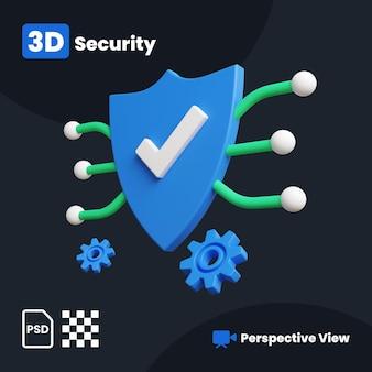 3d-afbeelding van secure shield met een perspectiefweergave