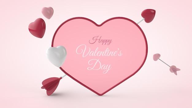 3d-afbeelding van valentijnsdag briefkaart mockup