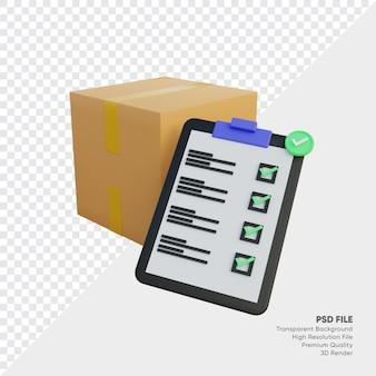 3d-afbeelding van verificatie van doos en klembord