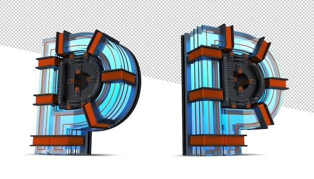 3d alfabet blauw neonlicht met koperdraad