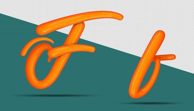 3d-alfabet kalligrafie stijl f.