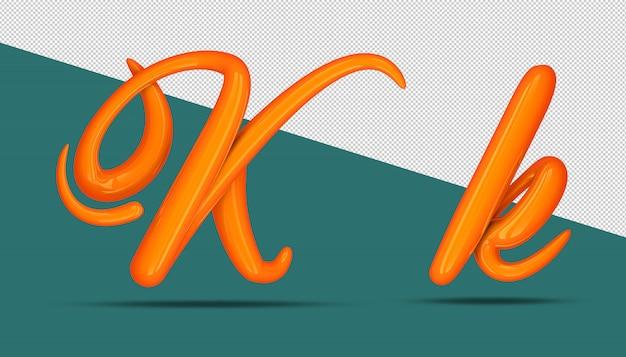 3d-alfabet kalligrafie stijl k.