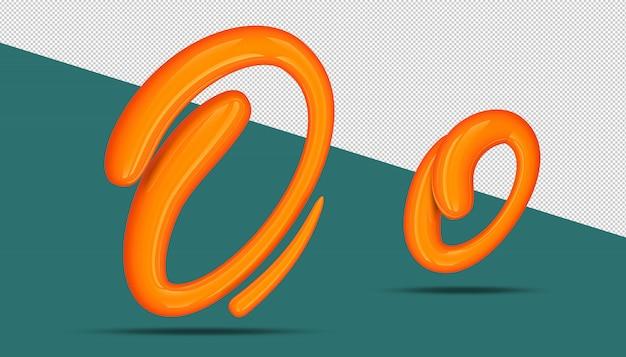 3d-alfabet kalligrafie stijl o