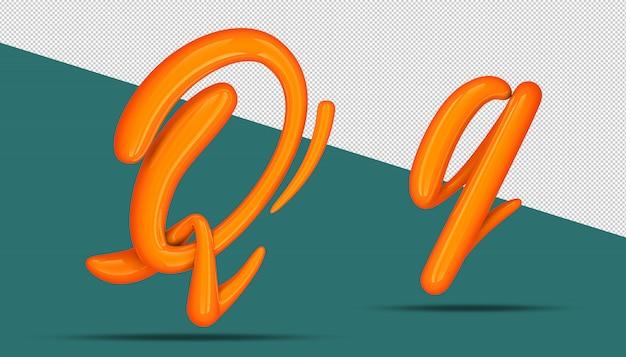3d-alfabet kalligrafie stijl q