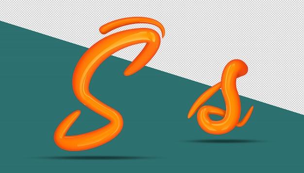 3d-alfabet kalligrafie stijl s.