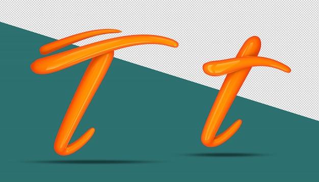 3d-alfabet kalligrafie stijl t.
