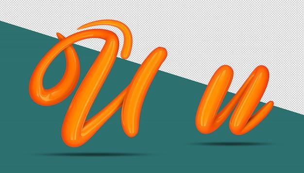 3d-alfabet kalligrafie stijl u