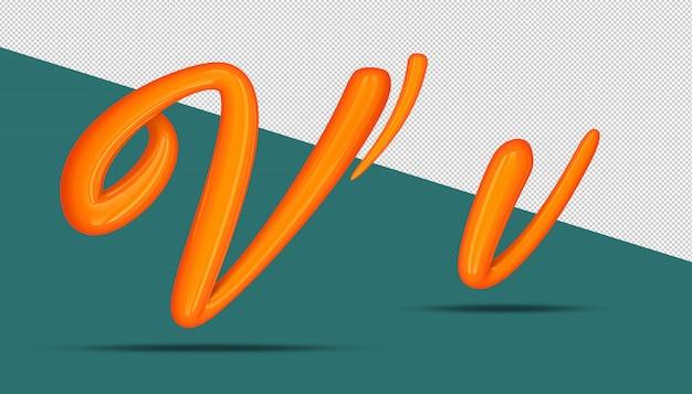 3d-alfabet kalligrafie stijl v