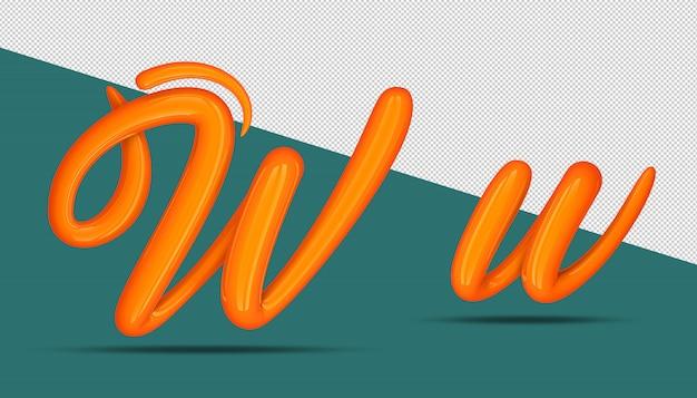 3d-alfabet kalligrafie stijl w.