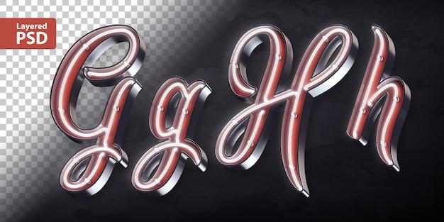 3d-alfabet met glanzende neon vorm