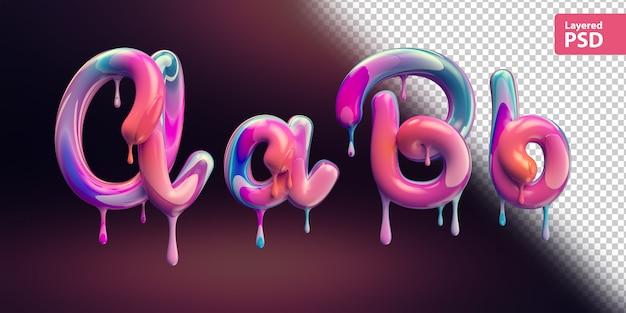 3d-alfabet met smeltende kleurrijke verf. letters a a b b.