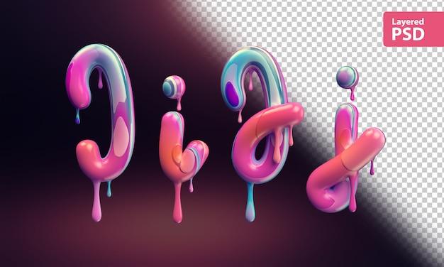 3d-alfabet met smeltende kleurrijke verf. letters i i j j.