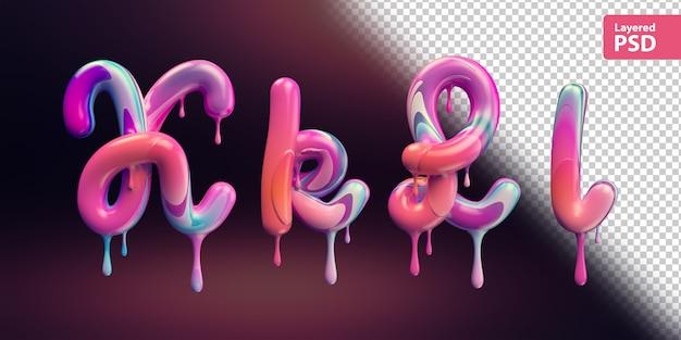 3d-alfabet met smeltende kleurrijke verf. letters k k l l.