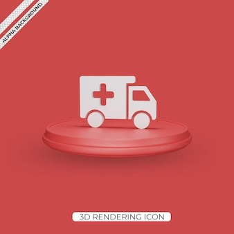 3d-ambulance geeft pictogramontwerp weer