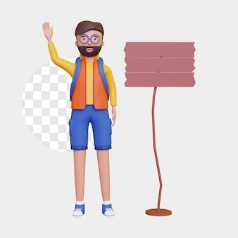 3d-backpacker man met een houten bord