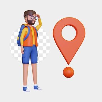 3d-backpackerman door de bestemming te observeren